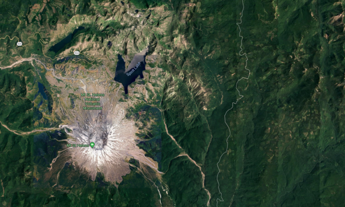 At least 15 earthquakes hit near Mount St. Helen overnight. (Screenshot via Google Maps)