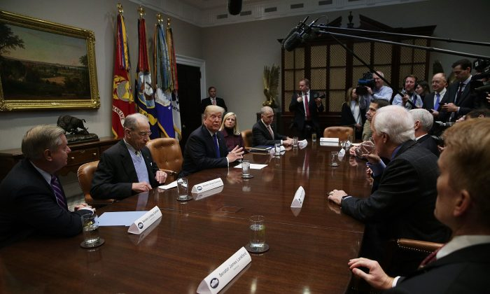 President Donald Trump during a meeting with Republican senators in the Roosevelt Room of the White House in Washington on Jan. 4, 2018. (Alex Wong/Getty Images)