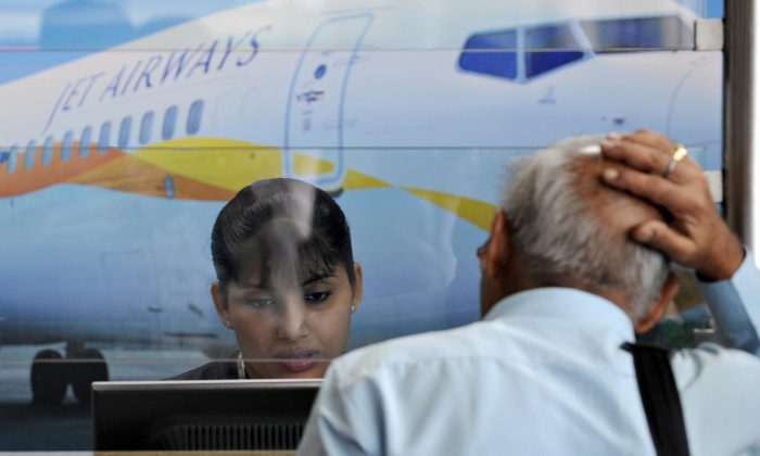 The Jet Airways counter at the city airport in Mumbai on Sept. 8, 2009. (Indranil Mukherjee/AFP/Getty Images)