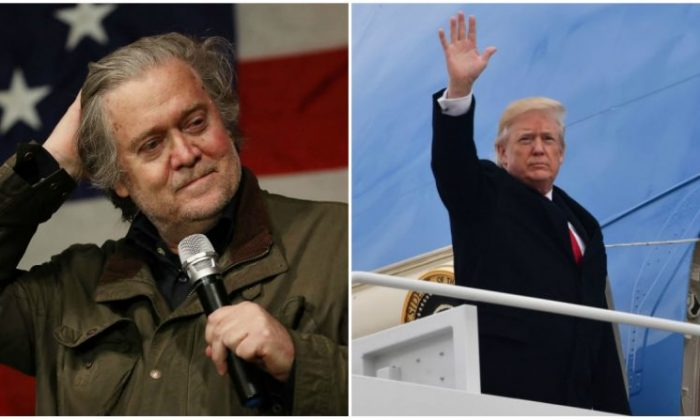 Former senior counselor to the president Steve Bannon (Joe Raedle/Getty Images), and President Donald Trump. (NICHOLAS KAMM/AFP/Getty Images)