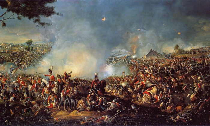 """""""The Battle of Waterloo"""" by William Sadler. London banks gave Napoleon 5 million pounds to finance the battle. (Public Domain)"""