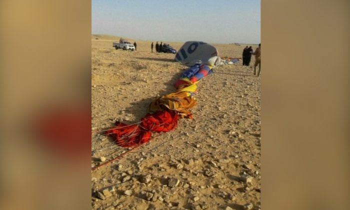 A hot air balloon crashed near the southern Egyptian city of Luxor on Jan. 5, 2018. (Reuters)