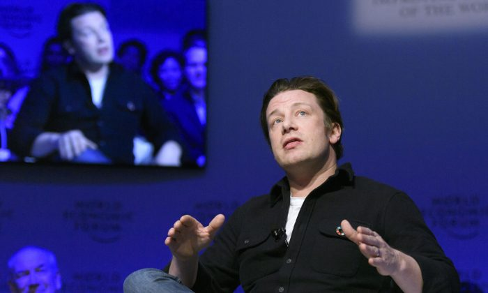 Chef and campaigner Jamie Oliver attends a session on the second day of the World Economic Forum in Davos on Jan. 18, 2017. (Fabrice Coffrini/AFP/Getty Images)