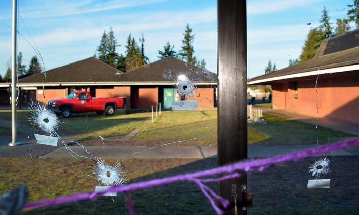 Marysville's Pinewood Elementary School was peppered with around 60 bullets on New Year's Eve. (Marysville Police Department)