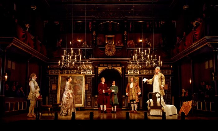 """The cast of """"Farinelli and the King"""": (L–R) Sam Crane, Melody Grove, Lucas Hall, Huss Garbiya, Edward Peel, and Mark Rylance. The evocative set is by Jonathan Fensom. (Joan Marcus)"""