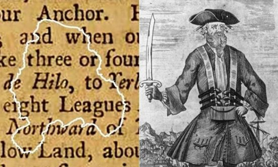 A paper fragment recovered from the wreck of pirate Blackbeard's ship (North Carolina Department of Natural and Cultural Resources)/Illustration of Blackbeard (Library of Congress)