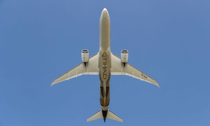 An Emirati Etihad Airways' Boeing 787 airliner is seen taking off from Beirut International Airport on Nov. 10, 2017. (Joseph Eid/AFP/Getty Images)