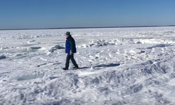 The bay in Falmouth, Massachusetts, froze over due to plunging temperatures. (YouTube video - Ryan Canty / screenshot)
