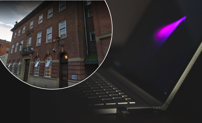 An inquest heard details surrounding the hanging death of a 12-year-old schoolboy who suffered from ADHD. (Background: stock photo of laptop via Pixabay/CCO. Inlaid: Birmingham Coroner's Court, Screengrab via Google Maps)