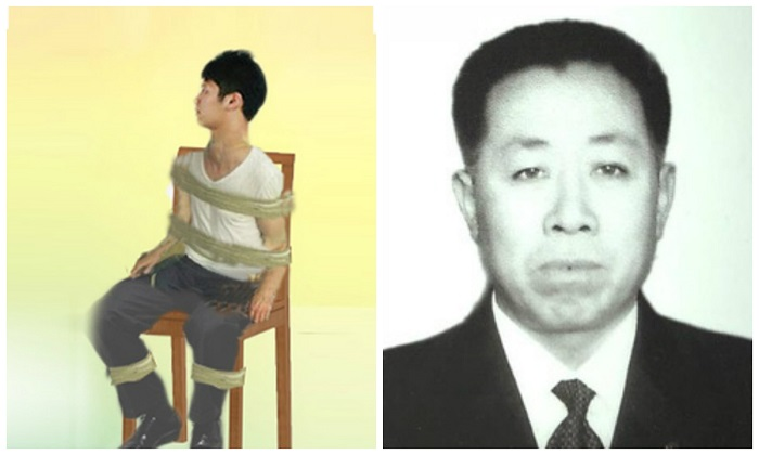 After being tortured with an electroshock baton, Lu Yuanfeng (Right) was taped to a chair and left near an open window for two days during northwest China's harsh winter. (Minghui)