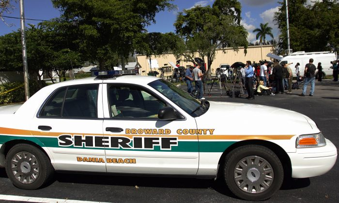 A Broward County Sheriff's patrol car sits outside a county building on Feb. 9, 2007. An impromptu drag race on one of Broward County's busiest roads left one dead last June; the driver has been arrested. (Roberto Schmidt/AFP/Getty Images)