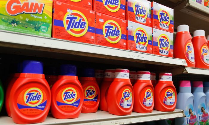 Tide laundry detergent is seen on a store shelf on March 13, 2012 in Miami, Florida. (Joe Raedle/Getty Images)