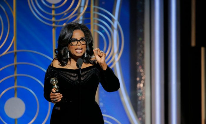 In this handout photo provided by NBCUniversal, Oprah Winfrey accepts the 2018 Cecil B. DeMille Award   at the 75th Annual Golden Globe Awards at The Beverly Hilton Hotel on Jan. 7, 2018, in Beverly Hills, Calif.  (Paul Drinkwater/NBCUniversal via Getty Images)