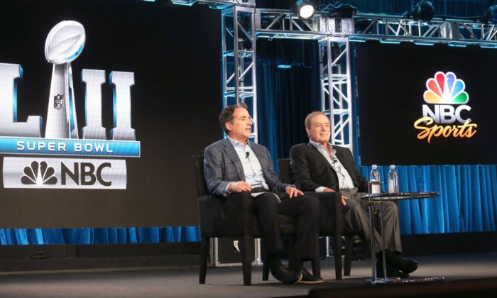 NBC Sports executive producer of Fred Gaudelli and sportscaster Al Michaels speak onstage during the NBCUniversal portion of the 2018 winter Television Critics Association Press Tour at The Langham Huntington, Pasadena on January 9, 2018. (Frederick M. Brown/Getty Images)