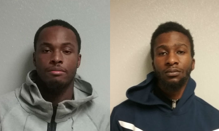 Suspects Tony Barber, 26 (L), from District Heights and Niko Boswell-Johnson, 25 (R), from Oxon Hill face charges of attempted armed robbery and other charges.  (Prince George's County Police Department)