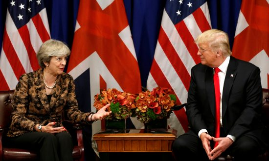 U.S. President Donald Trump meets with British Prime Minister Theresa May during the U.N. General Assembly in New York, U.S., Sept. 20, 2017. (Reuters/Kevin Lamarque/File Photo)