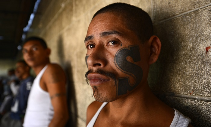A 2013 file image of MS-13 members in an El Salvador jail. (Marvin Recinos/AFP/Getty Images)