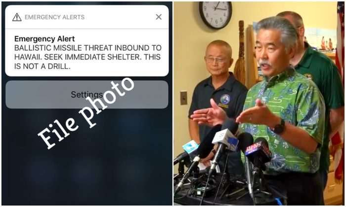 L: A screen shot of a mobile phone with an alert text message sent to all Hawaiian citizens on Jan. 13, 2018. (ALISON TEAL/AFP/Getty Images); R: Hawaii Gov. David Ige speaks at a press conference on Jan. 13, 2018. (Hawaii Emergency Management Agency)
