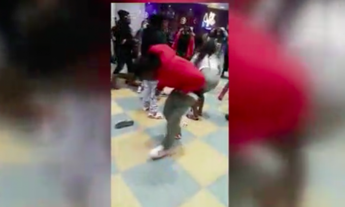 A brawl broke out at a mall in Newark, California, over a missing cell phone on Jan. 13, 2017. (Screenshot via KTVU)