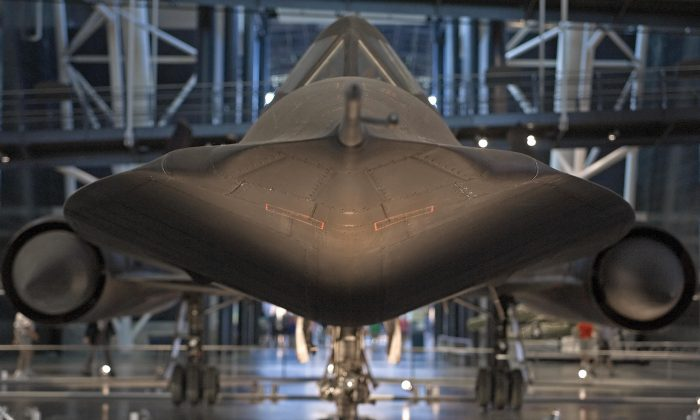 The Lockheed SR-71A Blackbird is displayed at the Smithsonian Institute's Udvar-Hazy Air and Space Museum in Chantilly, Virginia. on Aug. 23, 2006. (Paul J. Richards/AFP/Getty Images)
