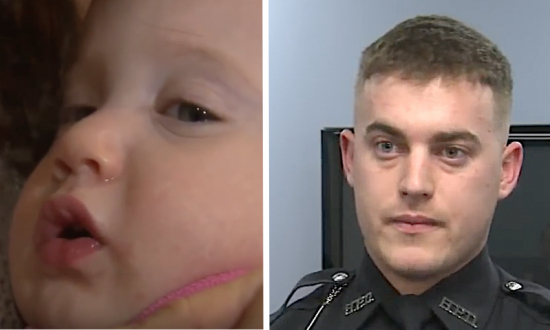 Officer's first day on the job. But during lunch, he spotted baby—knew something was wrong