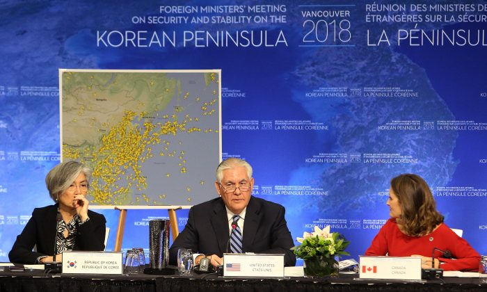 South Korean Minister of Foreign Affairs Kang Kyung-wha, U.S. Secretary of State Rex Tillerson and Canada's Minister of Foreign Affairs Chrystia Freeland attend the Foreign Ministers' Meeting on Security and Stability on the Korean Peninsula in Vancouver, Canada January 16, 2018.  (Reuters/Ben Nelms)