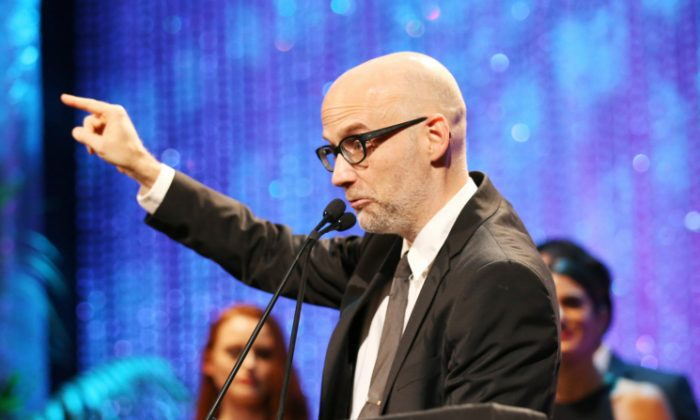 Singer Moby speaks onstage during the Environmental Media Association 26th Annual EMA Awards Presented By Toyota, Lexus And Calvert at Warner Bros. Studios in Burbank, California, on Oct. 22, 2016. (Phillip Faraone/Getty Images for Environmental Media Association)