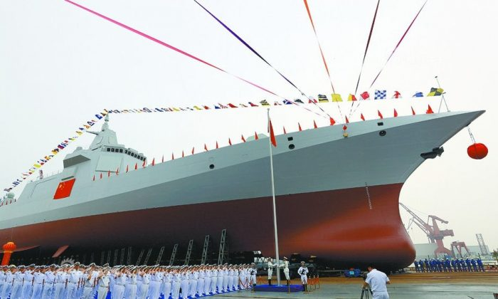 The first Type 055 destroyer (classified by Western sources as a cruiser) for China's People's Liberation Army Navy, in Shanghai's Jiangnan Shipyard on June 28, 2017. China is reportedly building at least five and possibly up to eight Type 055s. (People's Liberation Army Navy)