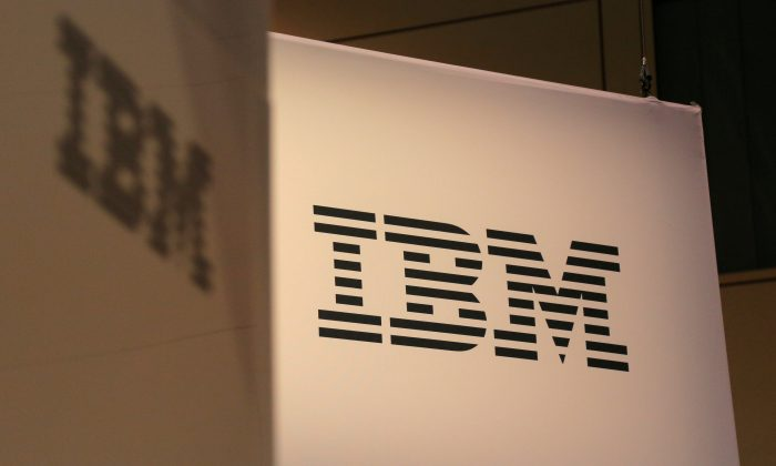 The logo for IBM is seen at the SIBOS banking and financial conference in Toronto, Ontario, Canada Oct. 19, 2017.  (Reuters/Chris Helgren/File Photo)