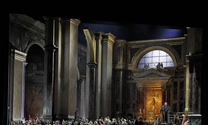 """Act 1 of Giacomo Puccini's """"Tosca,"""" in the Metropolitan Opera's new production, with sets and costumes by John Macfarlane. The traditional scenery has been well received by audiences. (Ken Howard/Metropolitan Opera)"""