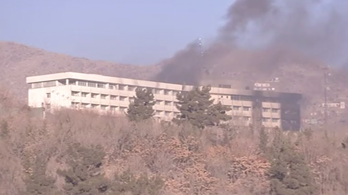 Smoke rises from Kabul hotel attack site on Jan. 21 2018