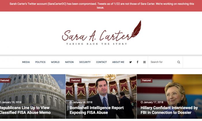 A screenshot of the website of national security reporter Sara Carter on Jan. 22, 2018. (Screenshot)