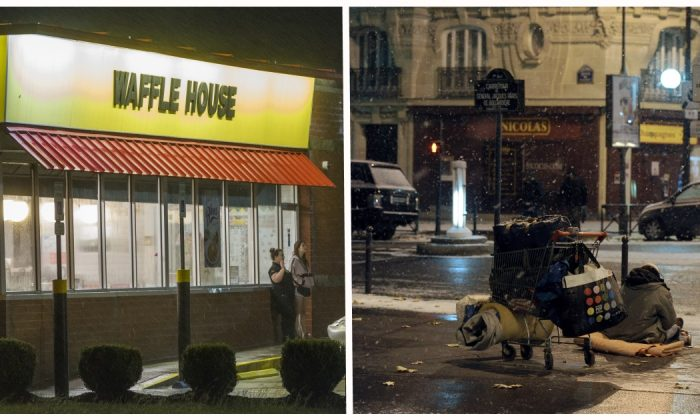 Waffle house staff helps homeless man out in freezing cold, what else they see—they go to hospital