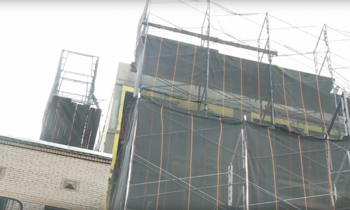 The work site in Manhattan, New York, where a construction worker fell to his death on Jan. 23, 2018. (NTD)
