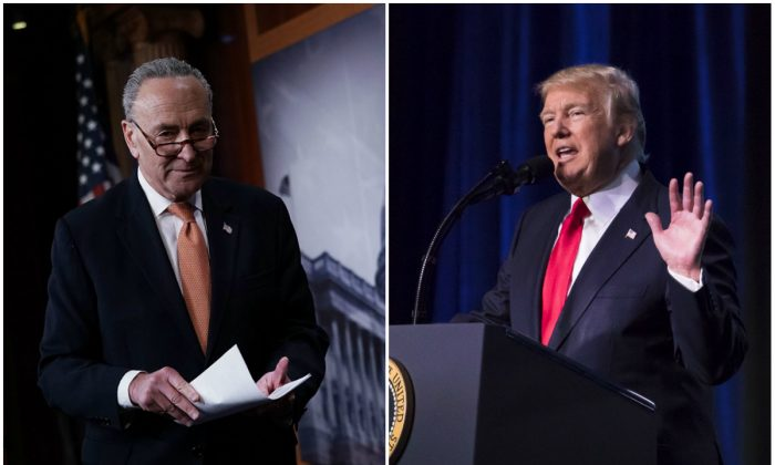 Senate Minority Leader Sen. Chuck Schumer (D-N.Y.) and President Donald Trump are wrangling over immigration. (Alex Wong/Getty Images and Samira Bouaou/The Epoch Times)