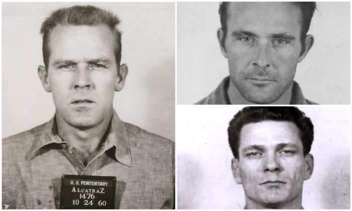 John Anglin (L), Clarence Anglin (top R), and Frank Morris (bottom R) who escaped from Alcatraz in 1962. (Public Domain)