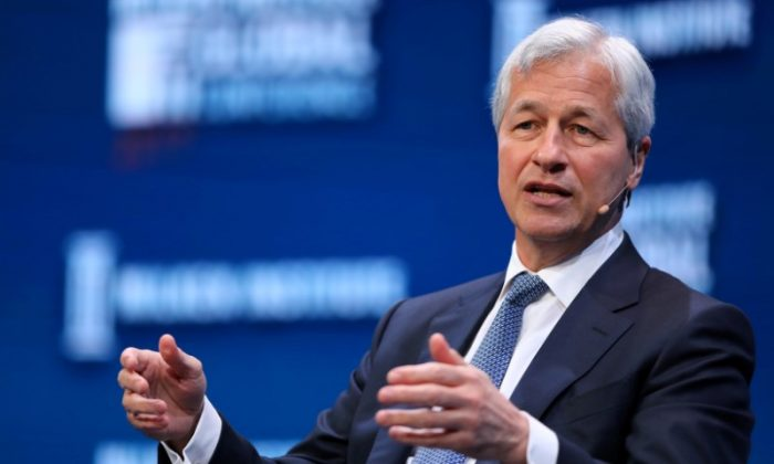 Jamie Dimon, Chairman and CEO of JP Morgan Chase & Co. speaks during the Milken Institute Global Conference in Beverly Hills, California, U.S. on May 1, 2017. (Reuters/Mike Blake/File Photo)