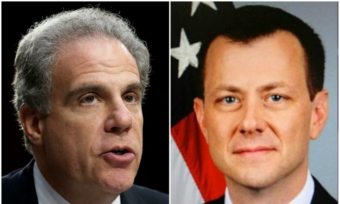 (L) Michael Horowitz, Inspector General of the U.S. Department of Justice. (Win McNamee/Getty Images) (R) Top FBI counterintelligence official Peter Strzok (FBI)