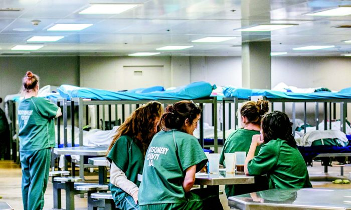 A direct supervision women's bunkroom, which holds 58 inmates. Ten of the 44 women held here on Dec. 8, 2017, were actively detoxing from opioids, and the majority were on suicide watch. (CHARLOTTE CUTHBERTSON/THE EPOCH TIMES)