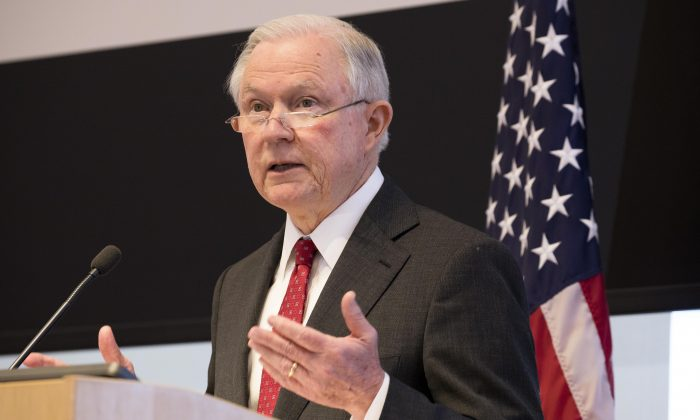 Attorney General Jeff Sessions speaks in Norfolk, Va., on national security, immigration, and holding the Justice Department accountable, on Jan. 26, 2018. (Samira Bouaou/The Epoch Times)