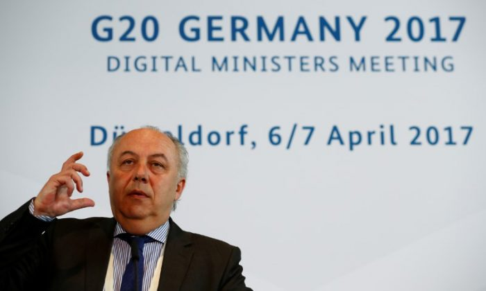 State Secretary at the German Ministry for Economic Affairs Matthias Machnig at a news conference during the G20 digital ministers meeting in Duesseldorf, Germany on April 7, 2017.   (REUTERS/Wolfgang Rattay)
