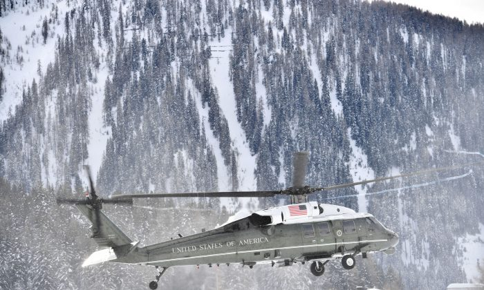 Marine One, carrying President Trump, comes in to land in the Alpine village of Davos, Switzerland, on Jan. 25, 2018. (NICHOLAS KAMM/AFP/Getty Images)