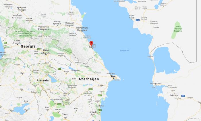 Dagestanskiye Ogni, on the Black Sea, near the Russian border with Georgia. (Screenshot via GoogleMaps)