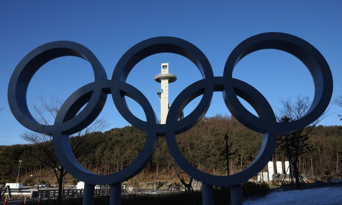 The Olympic Rings at Alpensia Resort, venue for the MPC (Main Press Centre) ahead of PyeongChang 2018 Winter Olympic Games in Pyeongchang-gun, South Korea, on Jan. 27, 2018. (Chung Sung-Jun/Getty Images)