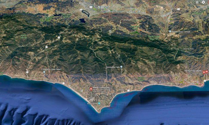 Malibu, CA., where a man drove off a 300-foot cliff and survived on Jan. 26. (Screenshot via Google Maps)