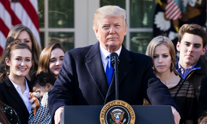 President Donald Trump addresses the March for Life rally from the Rose Garden at the White House in Washington on Jan. 19, 2018. (Samira Bouaou/The Epoch Times)