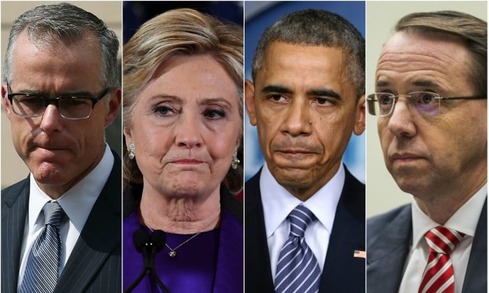 (L-R) Former Deputy FBI Director Andrew McCabe; former Democratic presidential candidate Hillary Clinton; former President Barack Obama; Deputy Attorney General Rod Rosenstein. (Mark Wilson/Getty Images; JEWEL SAMAD/AFP/Getty Images; Alex Wong/Getty Images; Zach Gibson/Getty Images)