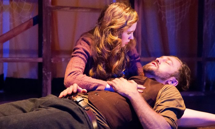 "Julie (Hannah Sloat) and Jericho (Vasile Flutur) in the new play ""Jericho."" (Dustin Moore)"