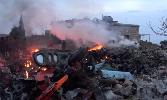 The scene shows, what according to Syrian rebels were fires caused by Russian military plane shot down by rebel forces near Idlib, Syria, reportedly on February 3, 2018 in this still image obtained from social media via Reuters.