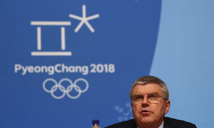 The International Olympic Committee President Thomas Bach holds a news conference following the IOC Executive Board meeting ahead of the the 2018 Winter Games in PyeongChang, South Korea, February 4, 2018. (Reuters/Ahmad Masood)